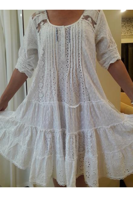 Платье-туника из белой прошвы с кружевными вставками FC248А-1c