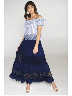 Длинная синяя юбка с кружевными вставками FC015f-2c