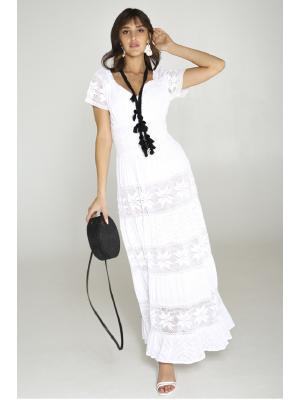 Белое платье с гипюровыми ярусами FC2510f-1с