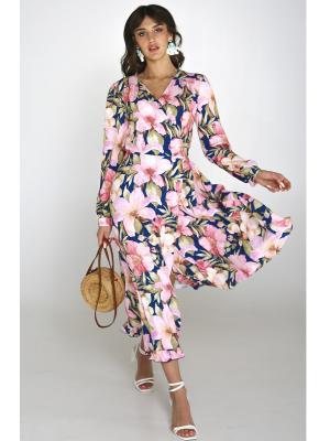 Платье в нежный цветочный принт, на запах Lari 1103-s