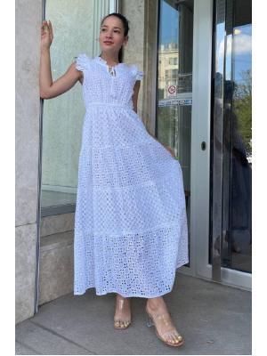 Длинное белое платье 21F-030C