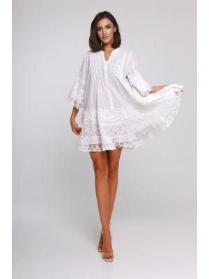 Платье-туника многоярусное с защипами и пуговицами 21A-222 1C