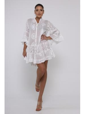 Платье-туника многоярусное с защипами и пуговицами 21A-223 1C