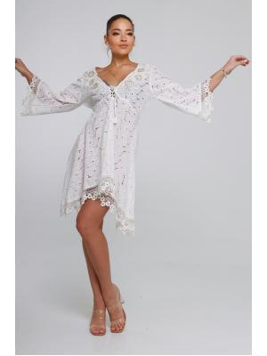 Короткое платье-туника из прошвы 21A-224C