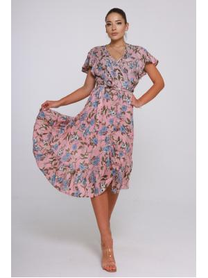Платье розовое на запах 21A-229V