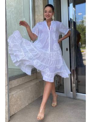 Платье-туника многоярусное с защипами и пуговицами 21A-219C