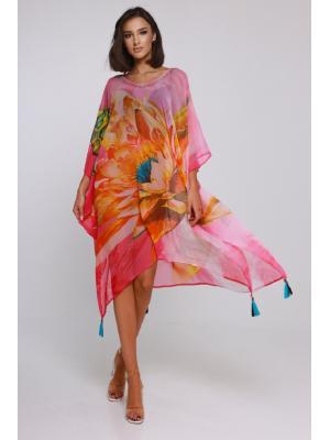Цветное пляжное платье-туника со стразами I21NI-306SH