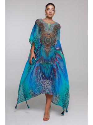 Длинное цветное пляжное платье-туника со стразами 21ni-310SH