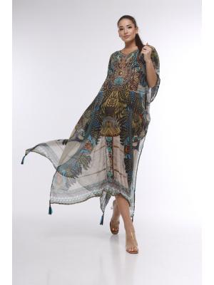 Длинное цветное пляжное платье-туника со стразами 21ni-311SH