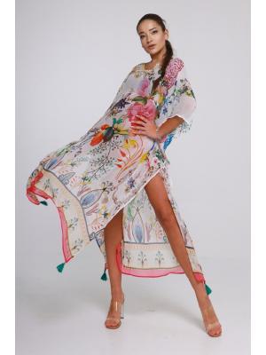 Длинное цветное пляжное платье-туника со стразами 21ni-313SH