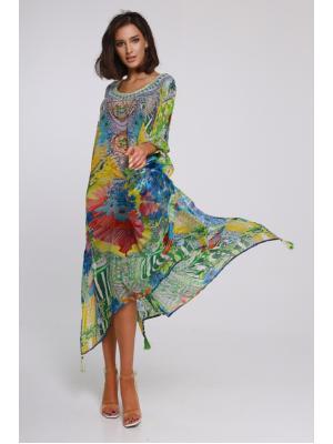 Длинное цветное пляжное платье-туника со стразами I 21NI-315SH
