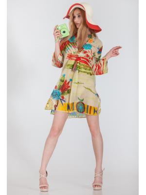 Платье-туника батистовое с вязаными цветами по лифу FC1113a-1c