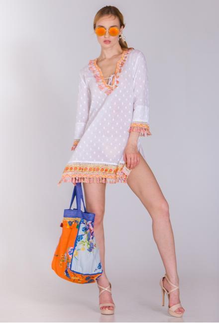 Платье-туника с яркими кисточками и высокими боковыми разрезами FC1165a-1C