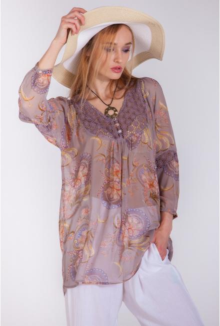 Блуза прямая с длинными рукавами и кружевной кокеткой FC1295i-1ch