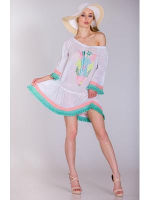 Платье-туника белое c декором из бисера FC229a-1c