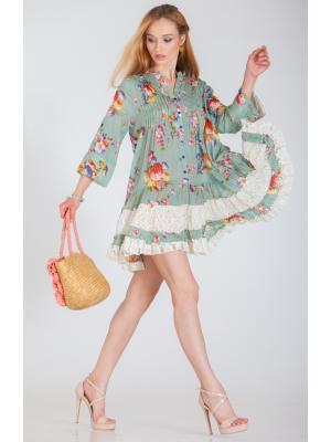 Платье-туника оливковое с гипюром FC250a-2c
