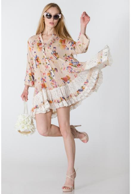 Платье-туника бежевое с гипюром FC250a-3c