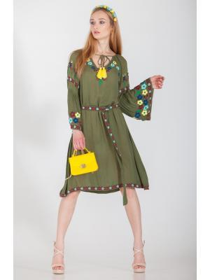 Платье-туника оливковая с вышивками и поясом FC277a-2v