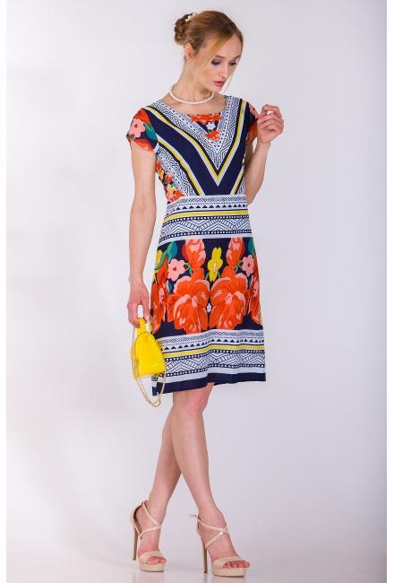 Платье с крупным цветочным принтом C427i-1C