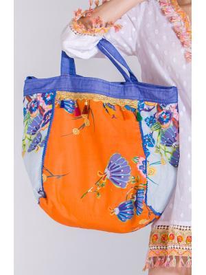 Коттоновая пляжная сумка в сине-оранжевых тонах FC1054-1C