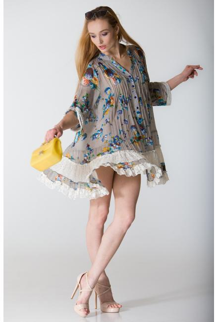 Платье-туника серое с гипюром FC250a-1c