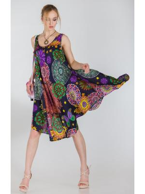 Платье-сарафан белое с ярким принтом FC710l-1v