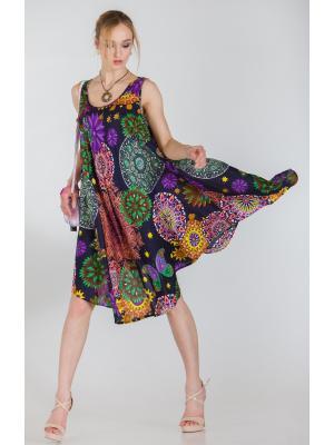 Платье-сарафан синее с ярким принтом FC710l-3v