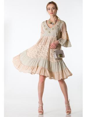 Платье-туника из бежевой прошвы с ярусами из кружева и вышивкой по горловине  FC1193А-2c