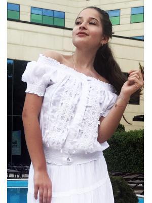 Блуза белая, на пуговицах, с кружевными вставками FC301f-1c