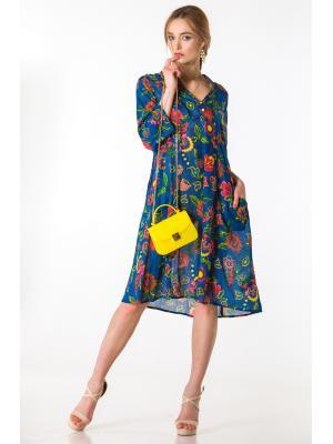 Платье-туника синяя с цветочным принтом FC1130A-1C