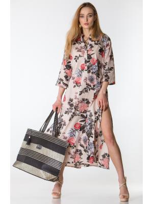 Платье-туника бежевое с цветочным принтом FC1236I-1V