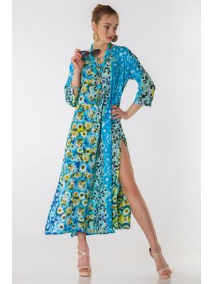 Платье-туника голубая с цветочным принтом FC1238I-1С
