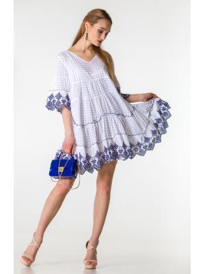 Платье-туника многоярусное белое с синей вышивкой FC1605F-1c