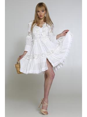 Платье на пуговицах с кружевными аппликациями 2365A-1C