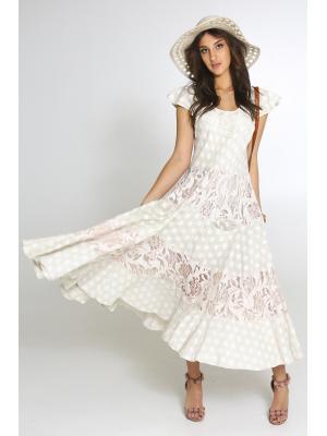 Многоярусное длинное платье с кружевными вставками 2459A-6C