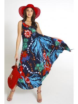 Платье-сарафан синего цвета с ярким принтом 2461A-93c