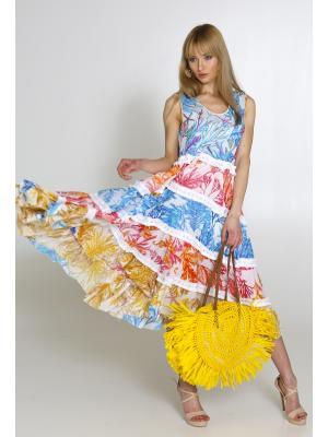 Платье-сарафан многоярусное в цветной принт 2462А-87С