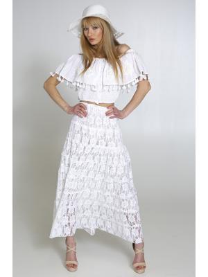 Длинная гипюровая юбка со вставками из кружева 2723f-1c