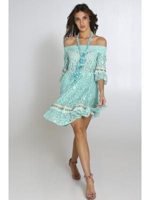 Платье-туника из гипюра цвета ментола 2351A-6C