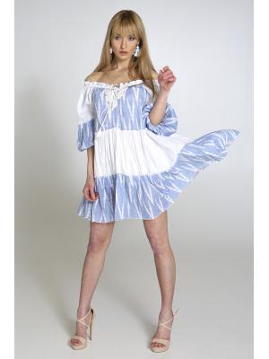 Платье-туника многоярусное, бело-голубое 2359A-10C