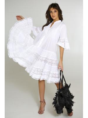 Платье-туника многоярусное с защипами и пуговицами FC2502f-1c