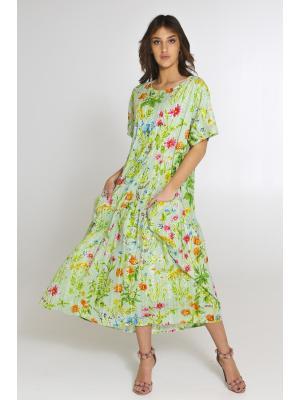 Платье-туника из прошвы с цветочным принтом FC2514F-11C