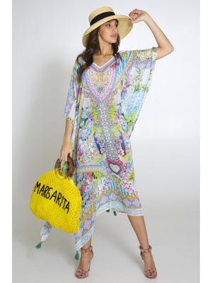 Цветное пляжное платье-туника со стразами 2534N-38SH