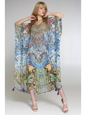 Цветное пляжное платье-туника со стразами 2536N-40SH