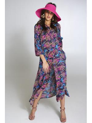 Платье-рубашка бирюзово-малиновое c высокими боковыми разрезами 2526N-24V