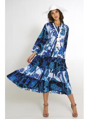 Платье-макси на пуговицах, многоярусное 2556A-92C