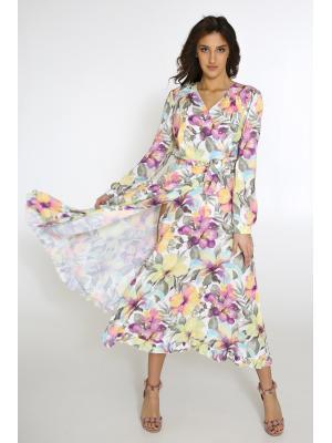 Платье в нежный цветочный принт, на запах Lari 1103