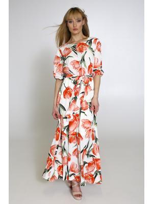Платье в цветочный принт, на запах Lari 1203