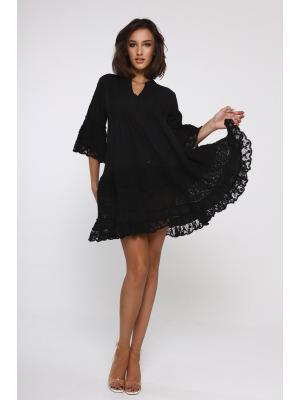 Платье-туника многоярусное с защипами и пуговицами 21A-222-2c