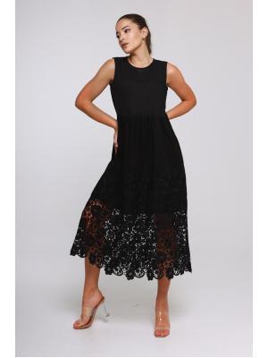 Платье-миди с кружевной каймой J-5003-b